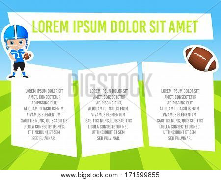 Banner With Funny Cartoon Child Sportsman. Template Advertising Brochure With Space For Text. Kid Pl