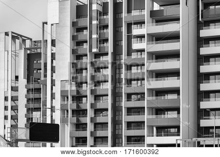 Milan (Lombardy Italy): modern residential buildings in the new Portello area. Black and white