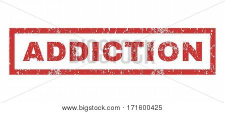 Addiction text rubber seal stamp watermark. Caption inside rectangular shape with grunge design and dirty texture. Horizontal vector red ink emblem on a white background.