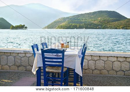 greek tavern in front of the sea at Ithaca island Greece