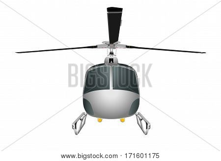 Helicopter with chassis and blades. Vector illustration eps 10 isolated on white background