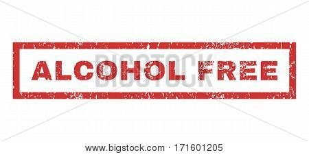 Alcohol Free text rubber seal stamp watermark. Tag inside rectangular banner with grunge design and scratched texture. Horizontal vector red ink sign on a white background.