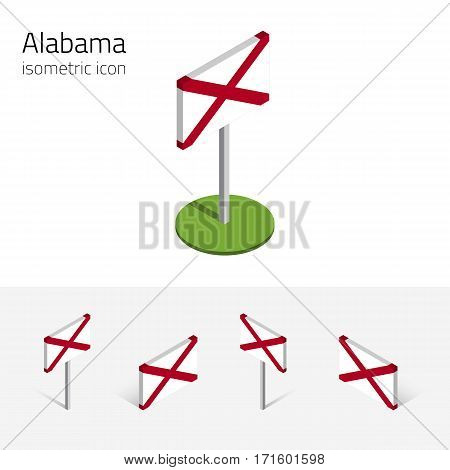 Flag of Alabama (State of Alabama, USA), vector set of isometric flat icons, 3D style, different views. Editable design element for banner, website, presentation, infographic, poster, map