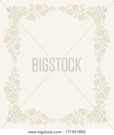 Elegant background with decorative russian khokhloma postcard frame