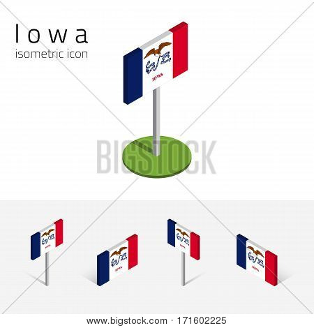 Flag of Iowa (State of Iowa, USA), vector set of isometric flat icons, 3D style, different views. Editable design element for banner, website, presentation, infographic, poster, map, collage