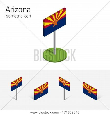Flag of Arizona (State of Arizona, USA), vector set of isometric flat icons, 3D style, different views. Editable design element for banner, website, presentation, infographic, poster, map, collage