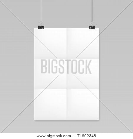Folded realistic blank sheet of paper mockup A4 on a rope