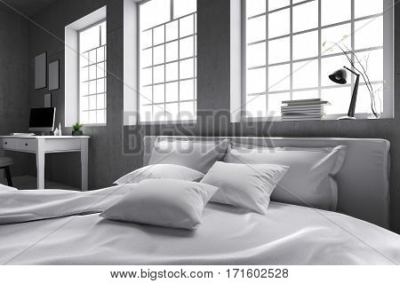 3D rendering : illustration of big spacious bedroom in soft light colors.big comfortable double bed in elegant classic modern bedroom. interior design of house