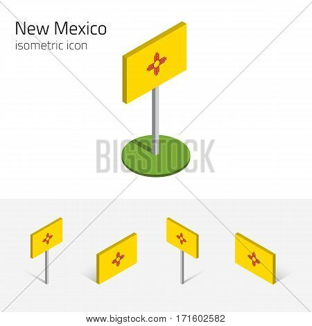 Flag of New Mexico (State of New Mexico, USA), vector set of isometric flat icons, 3D style, different views. Editable design element for banner, website, presentation, infographic, card, map, collage