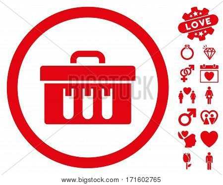 Analysis Box pictograph with bonus dating pictograms. Vector illustration style is flat iconic red symbols on white background.