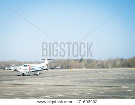 Propeller plane on tarmac