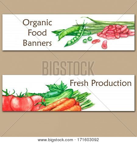 Two colorful watercolor banners with fresh organic food. Hand drawn illustrations of fresh vegetables