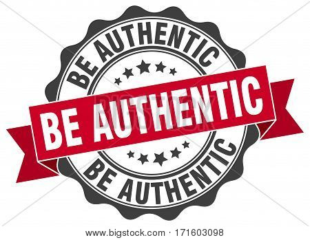 be authentic. stamp. sign. seal. round. retro. ribbon
