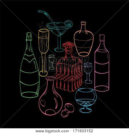 Set of Hand-Drawn Colorful Glasses Bottles and Glass Decanters Arranged in a Shape of Circle. Sketch Drawing Glasses isolated on Black. Vector Illustration.