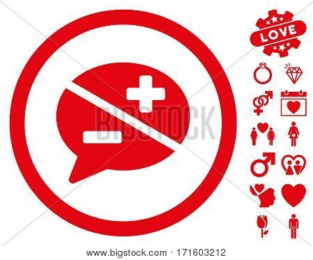 Arguments icon with bonus decoration pictograms. Vector illustration style is flat iconic red symbols on white background.