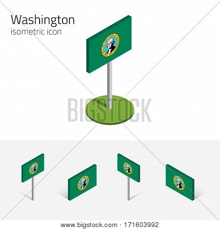 Flag of Washington (State of Washington, USA), vector set of isometric flat icons, 3D style, different views. Editable design element for banner, website, presentation, infographic, map, collage