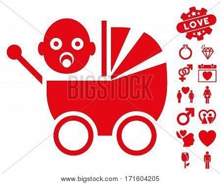 Baby Carriage icon with bonus decorative symbols. Vector illustration style is flat iconic red symbols on white background.