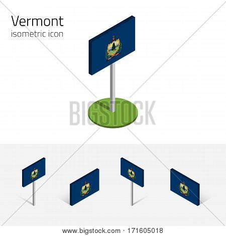 Flag of Vermont (State of Vermont, USA), vector set of isometric flat icons, 3D style, different views. Editable design element for banner, website, presentation, infographic, poster, map, collage