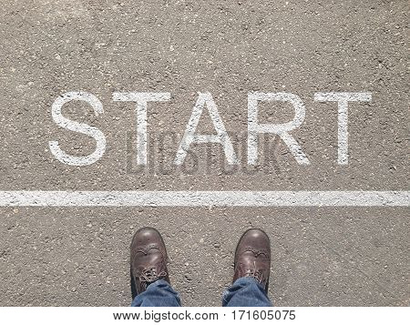 standing at the start line to start or begin new life