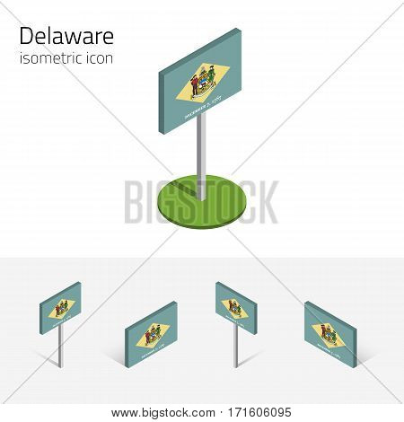 Flag of Delaware (State of Delaware, USA), vector set of isometric flat icons, 3D style, different views. Editable design element for banner, website, presentation, infographic, poster, map, collage