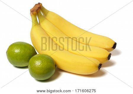 banana and lime isolated on white background