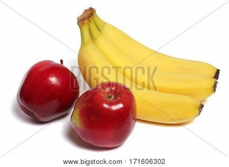 smile banana and red apple isolated on white background