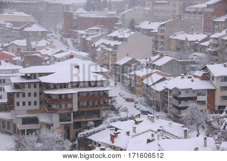 VELIKO TARNOVO BULGARIA - JANUARY 6 2017: View of the town in blizzard on the winter day