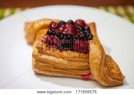 The Cake Of Puff Pastry With Berries, Strawberries, Cherries, Jam,