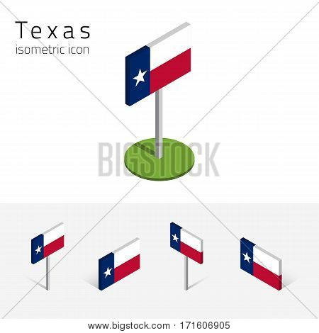 Flag of Texas (State of Texas, USA), vector set of isometric flat icons, 3D style, different views. Editable design element for banner, website, presentation, infographic, poster, map, collage