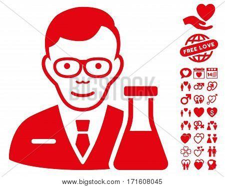 Chemist icon with bonus valentine pictograms. Vector illustration style is flat iconic red symbols on white background.
