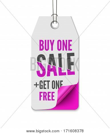 Price labels sale. Realistic vector illustration of pink paper isolated on white background tag with curl corner and inscription Buy one - Get on free