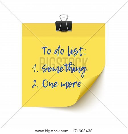 Yellow sticker paper post it checklist with paper clip isolated on white background. Realistic vector illustration for to do list, reminder. Sticky paper with space for text