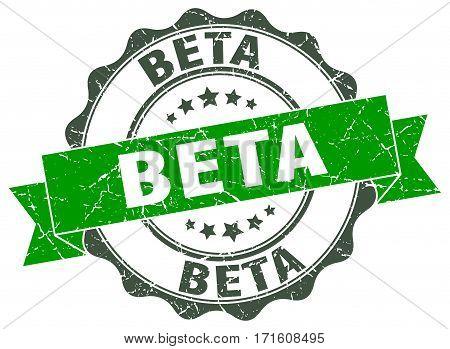 beta. stamp. sign. seal. round. retro. ribbon