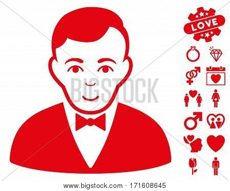 Dealer pictograph with bonus dating pictograph collection. Vector illustration style is flat iconic red symbols on white background.