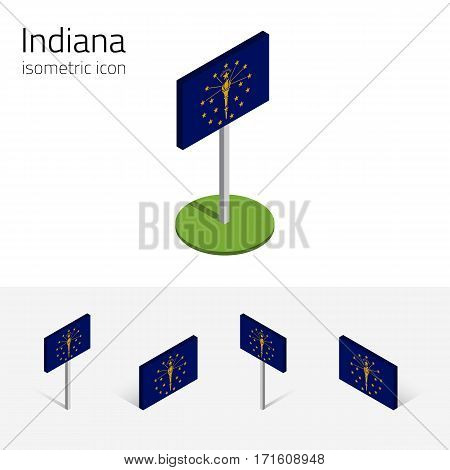Flag of Indiana (State of Indiana, USA), vector set of isometric flat icons, 3D style, different views. Editable design element for banner, website, presentation, infographic, poster, map, collage