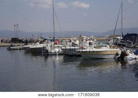 Cagliari: boats anchored in the harbor of Marina Piccola - Sardinia