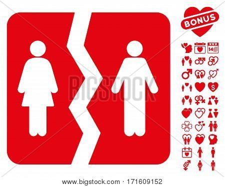 Divorce icon with bonus decoration pictograms. Vector illustration style is flat iconic red symbols on white background.
