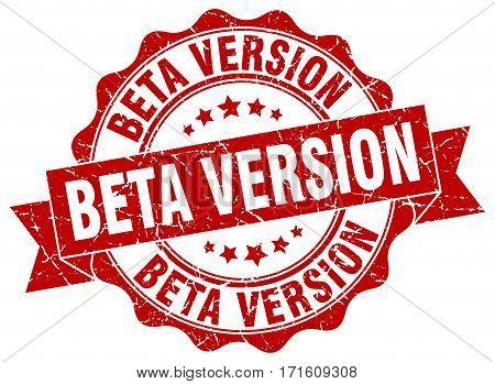 beta version. stamp. sign. seal. round. retro. ribbon