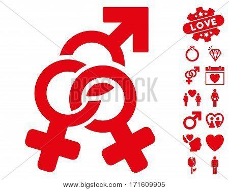 Double Mistress icon with bonus lovely symbols. Vector illustration style is flat iconic red symbols on white background.