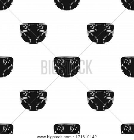 Baby diaper icon in black style isolated on white background. Baby born pattern vector illustration.