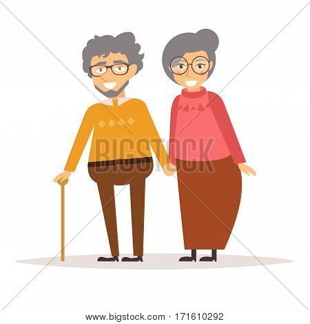 Elderly couple holding hands. Grandma and grandpa. Vector illustration. Cartoon character. Art on a white background.