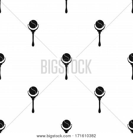 Baby rattle icon in black style isolated on white background. Baby born pattern vector illustration.