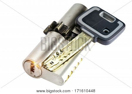 pin-tumbler lock with the key.Close up on a white background
