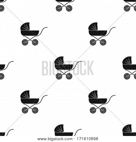 Pram icon in black style isolated on white background. Baby born pattern vector illustration.