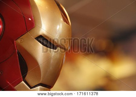 Los Angeles - An Ironman Head model in Universal Studios Hollywood 2015 on Oct 26, 2015 Display at Universal Studios Hollywood, Los Angeles,California.