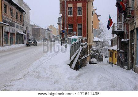 VELIKO TARNOVO BULGARIA - JANUARY 6 2017: Snowy streets of the town on the winter day