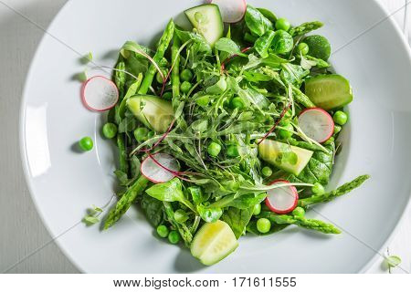 Healthy Green Salad With Mix Of Vegetables