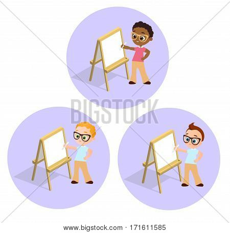 Isometric easel. Set Young boy with glasses Drawing Whiteboard. Paint desk and white paper isolated on white background. Vector illustration eps 10