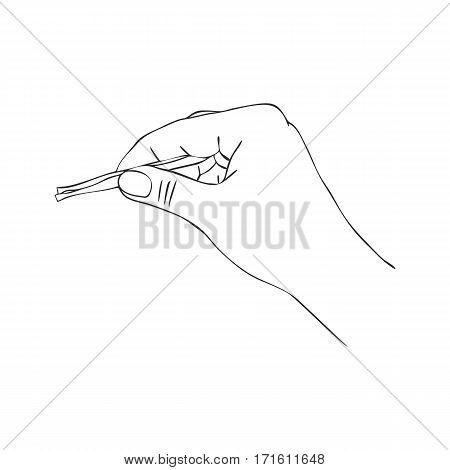 hand with eyebrow tweezers, line drawing isolated symbol at white background