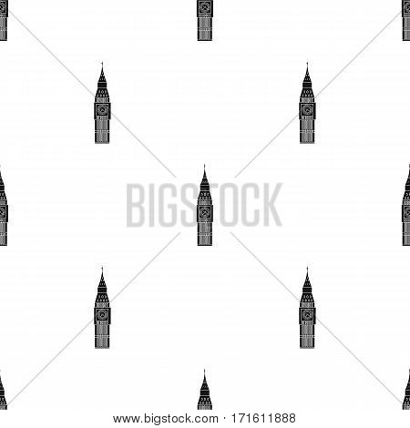 Big Ben icon in black style isolated on white background. England country pattern vector illustration.